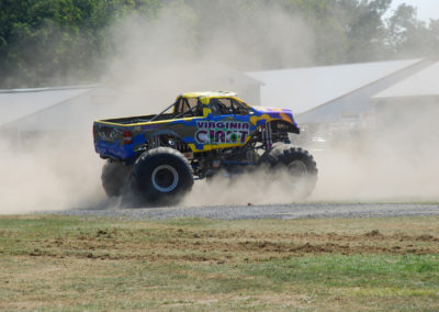 virginia giant monster truck kicking up dust