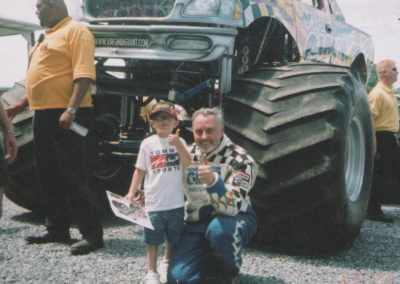 Diehl Wilson with a young fan in front of the Virginia Giant truck